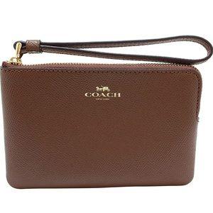 New!! Coach Crossgrain Leather Corner Zip Wristlet